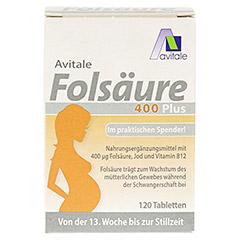 FOLSÄURE 400 Plus B12+Jod Tabletten 120 Stück - Vorderseite