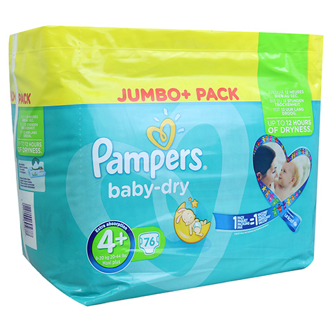 PAMPERS Baby Dry Gr.4+ maxi plus 9-20kg Jumbo plus 76 Stück