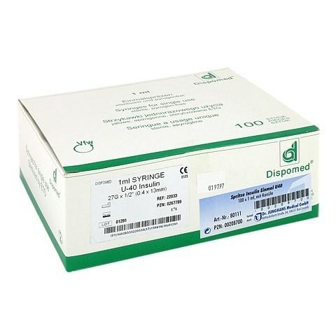 Insulin EinmalSpritzen U40 m.Kanüle 100x1 Milliliter