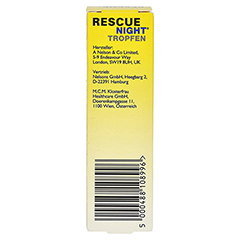 BACH ORIGINAL Rescue night Tropfen alkoholfrei 20 Milliliter - Rückseite