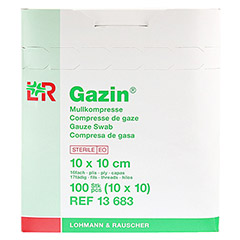 GAZIN Mullkomp.10x10cm steril 16fach 10x10 Stück - Rechte Seite