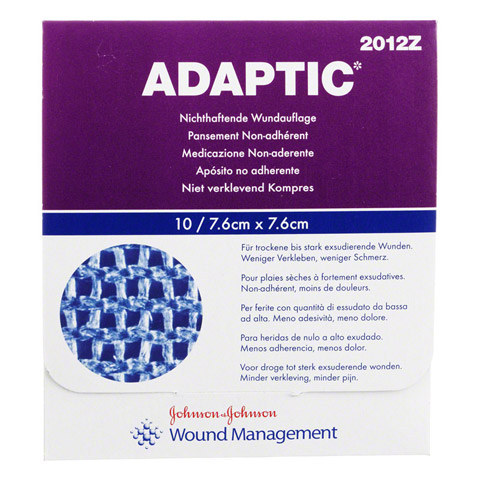ADAPTIC 7,6x7,6 cm feuchte Wundauflage 2012Z 10 St�ck