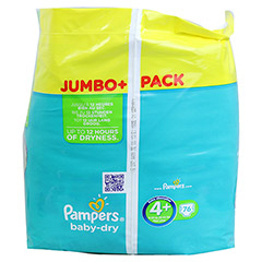 PAMPERS Baby Dry Gr.4+ maxi plus 9-20kg Jumbo plus 76 Stück - Rechte Seite