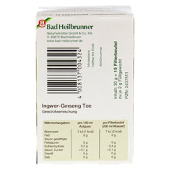 BAD HEILBRUNNER Tee Ingwer Ginseng Filterbeutel 15 Stück - Unterseite