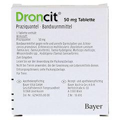 DRONCIT 50 mg Tabletten für Hunde/Katzen 2 Stück - Rückseite