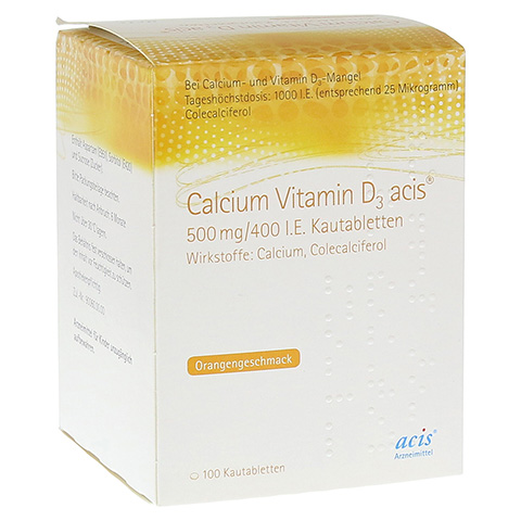 CALCIUM VITAMIN D3 acis 500 mg/400 I.E. Kautabl. 100 Stück