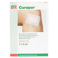 CURAPOR Wundverband steril chirurgisch 5x7 cm 5 Stück - Vorderseite