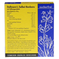 DALLMANN'S Salbei-Bonbons zuckerfrei 20 Stück - Rückseite