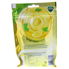 WICK Zitrone & nat�rliches Menthol Bonb.o.Zucker 72 Gramm - R�ckseite