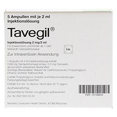 TAVEGIL Injektionslösung 2 mg/2 ml Ampullen 5x2 Milliliter N1 - Rückseite