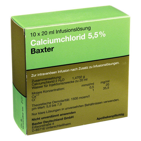 CALCIUMCHLORID Lösung 5,5% Ampullen 10x20 Milliliter N2