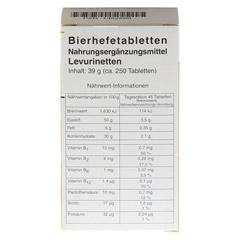 BIERHEFE TABLETTEN Levurinetten 250 Stück - Rückseite
