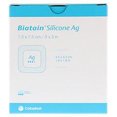 BIATAIN Silicone Ag Schaumverband 7,5x7,5 cm 5 Stück - Vorderseite