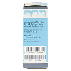 APOPET Sch��ler-Salz Nr.12 Calcium sulf.D 6 vet. 12 Gramm - Linke Seite