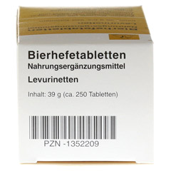 BIERHEFE TABLETTEN Levurinetten 250 Stück - Unterseite