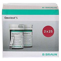 OMNITEST 5 Blutzucker Teststreifen 2x25 Stück - Vorderseite