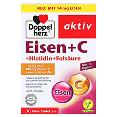 DOPPELHERZ Eisen+Vit.C+L-Histidin Tabletten 30 Stück - Vorderseite