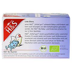 H&S Bio Schlaf gut Baby- und Kindertee Filterbeut. 20 Stück - Rückseite