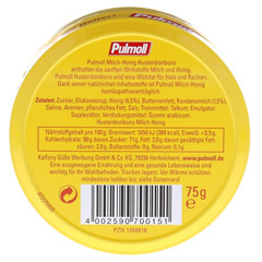 PULMOLL Milch Honig Bonbons 75 Gramm - R�ckseite