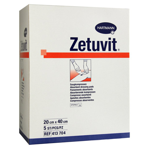 ZETUVIT Saugkompresse steril 20x40 cm 5 Stück