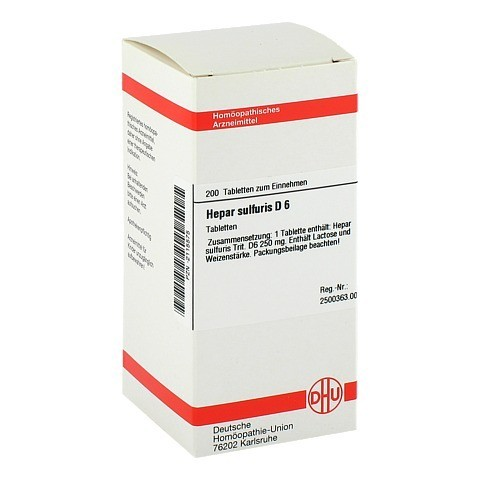 HEPAR SULFURIS D 6 Tabletten 200 St�ck N2