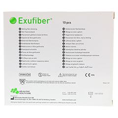 EXUFIBER gelbildender Faserverband 10x10 cm 10 Stück - Rückseite