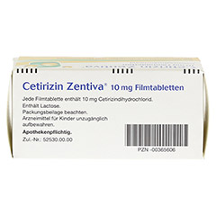 Cetirizin Zentiva 10mg 100 St�ck N3 - Oberseite