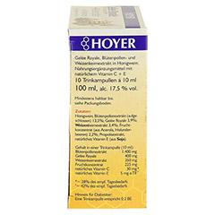 HOYER Gelee Royale+Blütenpollen+Weizenk.Trinkamp. 10x10 Milliliter - Rechte Seite