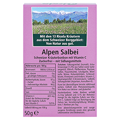 RICOLA o.Z. Box Salbei Alpen Salbei Bonbons 50 Gramm - Rückseite