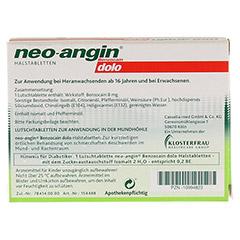 Neo-angin Benzocain dolo Halstabletten zuckerfrei 12 Stück - Rückseite