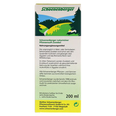ZWIEBELSAFT naturrein Schoenenberger 200 Milliliter - R�ckseite