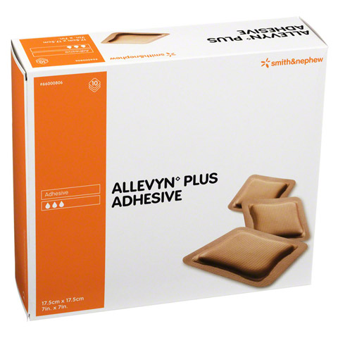 ALLEVYN Plus Adhesive 17,5x17,5 cm Schaumverband 10 Stück