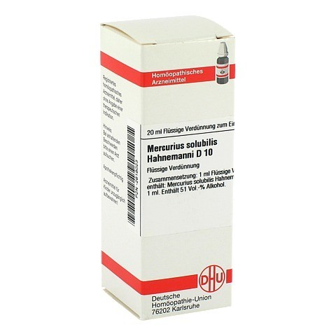 MERCURIUS SOLUBILIS D 10 Dilution Hahnemanni 20 Milliliter N1