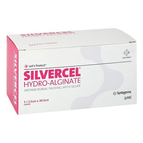 SILVERCEL Hydroalginat Tamponade 2,5x30,5 cm 5 St�ck