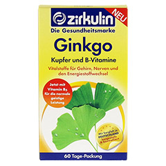 ZIRKULIN Ginkgo Kupfer und B-Vitamine Tabletten 60 Stück - Vorderseite