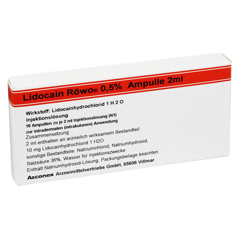 LIDOCAIN Röwo 0,5% Ampullen 2 ml 10x2 Milliliter N1