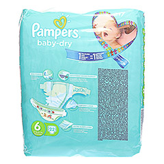 PAMPERS Baby Dry Gr.6 Extra Large 15+kg Sparpack 22 Stück - Rückseite