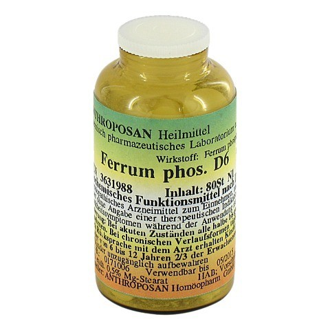FERRUM PHOSPHORICUM D 6 Sch�ssl.Nr.3 Tabletten 80 St�ck N1