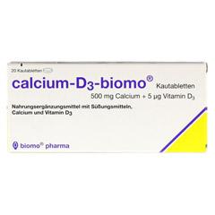 CALCIUM D3 biomo Kautabletten 500+D 20 Stück - Vorderseite