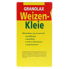 WEIZENKLEIE Granolax Grandel Pulver 200 Gramm - Rückseite
