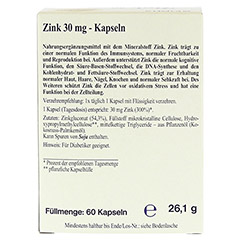 ZINK 30 mg Kapseln 60 Stück - Rückseite