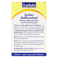 ZIRKULIN Zuckerstoffwechsel Zimt Plus Tabletten 60 Stück - Rückseite