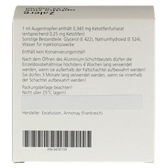 Zalerg ophtha sine 0,25mg/ml Augentropfen 50 St�ck N3 - R�ckseite