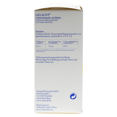 GELACET Gelatinekapseln mit Biotin 320 St�ck - Rechte Seite