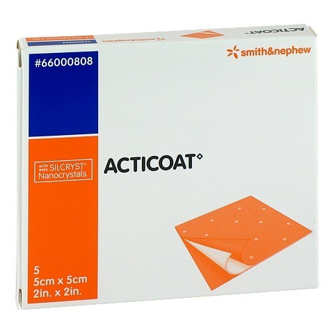 ACTICOAT 5x5 cm antimikrobielle Wundauflage 5 Stück