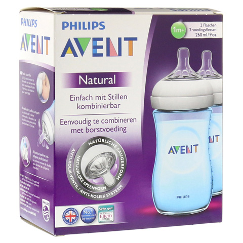 AVENT Flasche 260 ml Naturnah blau 2 Stück