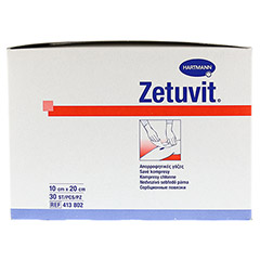 ZETUVIT Saugkompresse unsteril 10x20 cm 30 Stück - Linke Seite