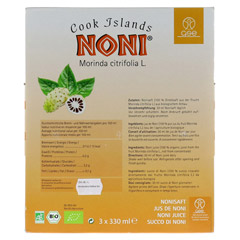 NONI Cook Islands Bio Saft 990 Milliliter - Rückseite