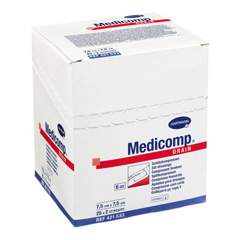 MEDICOMP Drain Kompressen 7,5x7,5 cm steril 25x2 St�ck