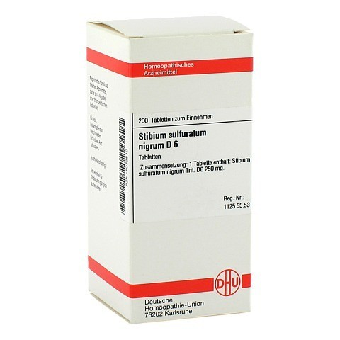 STIBIUM SULFURATUM NIGRUM D 6 Tabletten 200 Stück N2